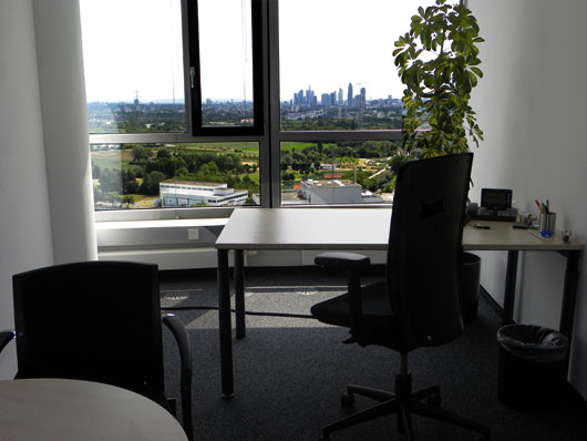 Premium Business Center Eschborn Skyline View Out of a Single Office